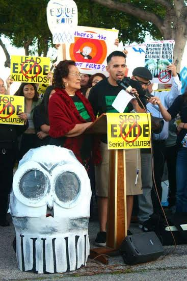 Hugo and his grandmother, Maria de Jesus Garcia at an action against Exide, sharing personal testimonies on their experiences with pollution and toxins